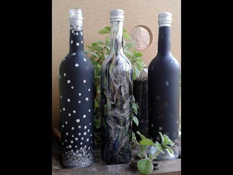 Botella de vidrio decorada con estrellas paso a paso - YouTube