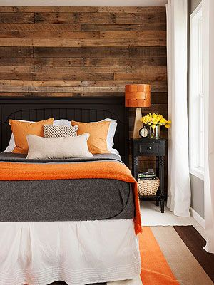 I want a bright white bedroom, but this would be my exception. I love the contrast of the orange and wood!