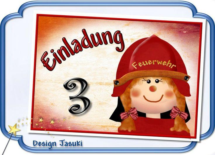 Einladung Kindergeburtstag Feuerwehr Frau   **_Einladungskarte  Kindergeburtstag Im Postkartenformat Mit Weißem Umschlag, Motiv Feuerwehr  Frau** **Der Preis ...