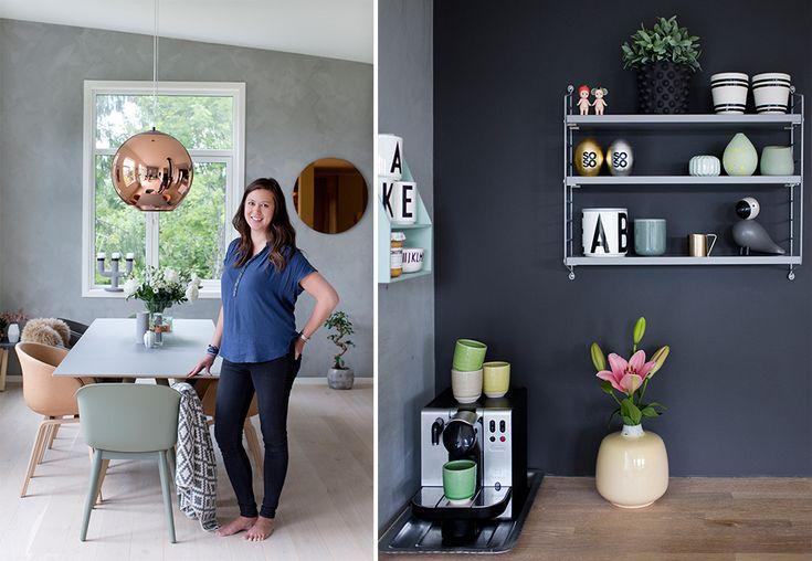 Rett ved Mjøsa har familien Holberg funnet seg til rette i et varmt, levende og nordisk funkishus. Kristine håper de spenstige fargevalgene i interiøret kan inspirere andre.