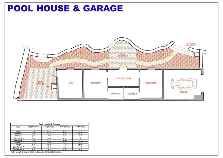 Pool house floor plans with living quarters joy studio for Pool design blueprints
