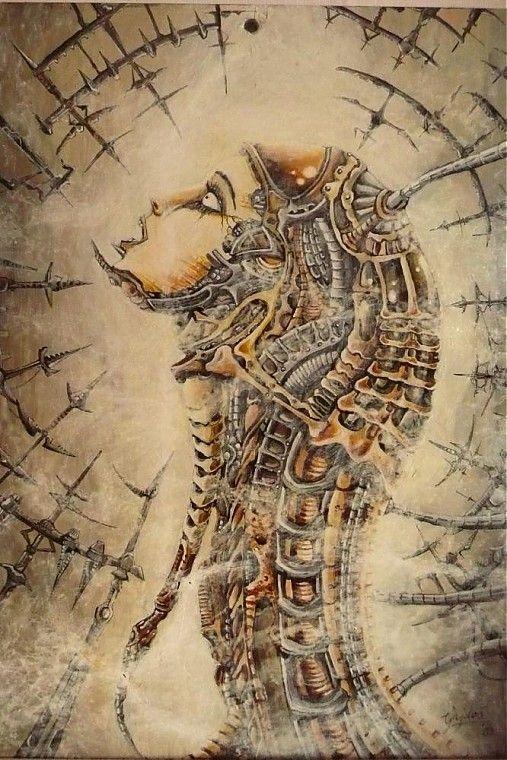 Maľba na skle - Biomechanic by E.G.ART - SAShE.sk - Handmade Obrazy