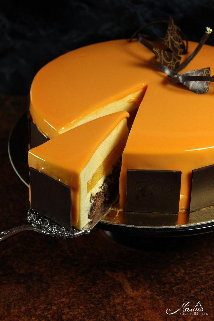 Orangentorte mit Schokoknusperboden und Mirror Glaze
