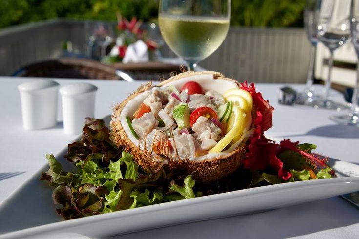 NIUE: fine dinning (raw fish called 'ota' locally). Matavai resort