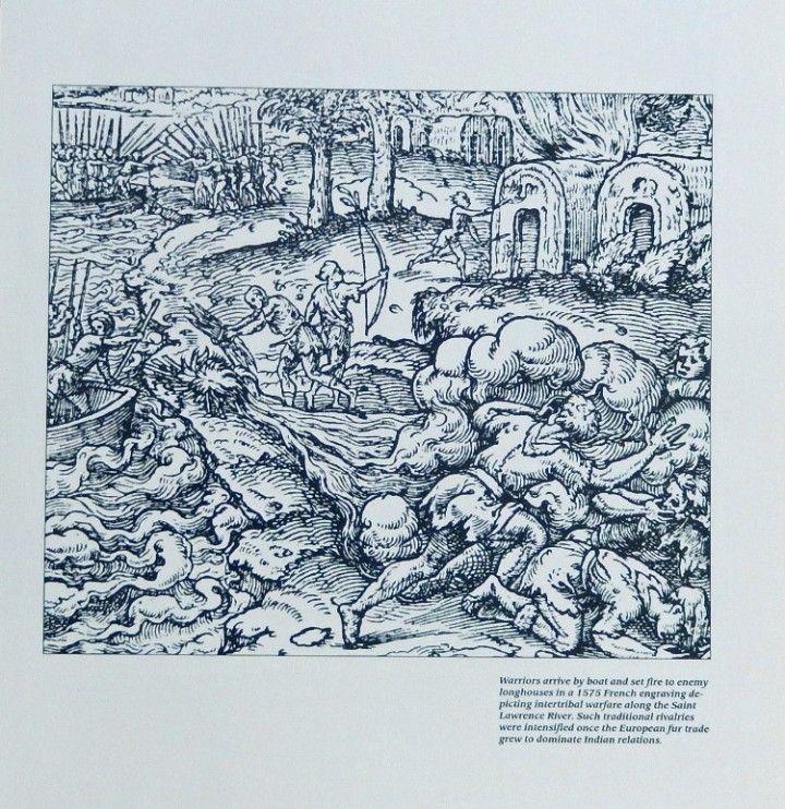 1775 French engraving  warfare along the Saint Lawrence River  rare print art