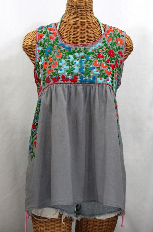 """Seriously one of our most beautiful Sirena sleeveless Mexican blouses ever!  """"La Sirena"""" Sleeveless Mexican Peasant Blouse -Grey + Fiesta Embroidery."""