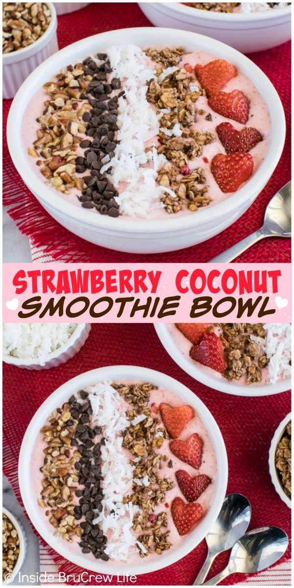 Granola, chocolate, coconut, and nuts add a delicious crunch to this Strawberry Coconut Smoothie Bowl recipe. Perfect for breakfast or afternoon snack.