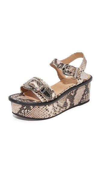Natural Toga Pulla Embossed Flatform Sandals