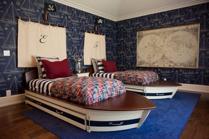 Nautical themed boys' room - love the sails!