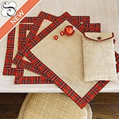 Suzanne Kasler Set of 4 Burlap & Red Plaid Placemats