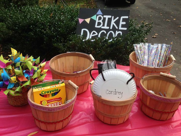 Bike decoration station at a boy birthday party!  See more party planning ideas at CatchMyParty.com!