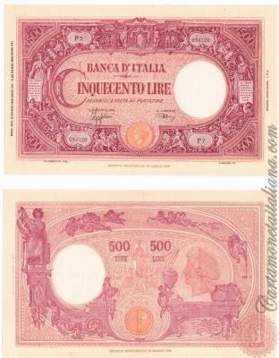 Cartamoneta Italiana .com - Museo Virtuale - : Banca d'Italia – Regno d'Italia - Foto: 500 LIRE - Barbetti modificato (fascio) - N 26