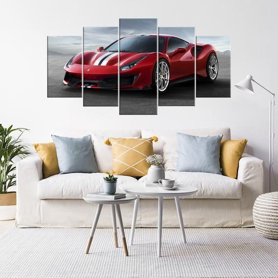 Ferrari 488 Pista Red Sports Car Art Giclee print Canvas Picture Wall Art Gift for boyfriend Kids De