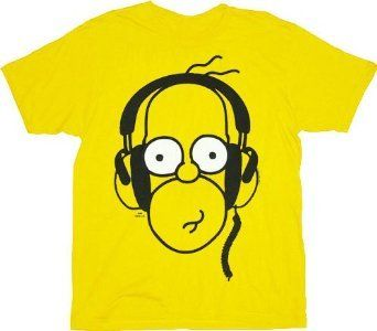 The Simpsons Homer With Headphones Yellow Adult T-shirt Tee Large
