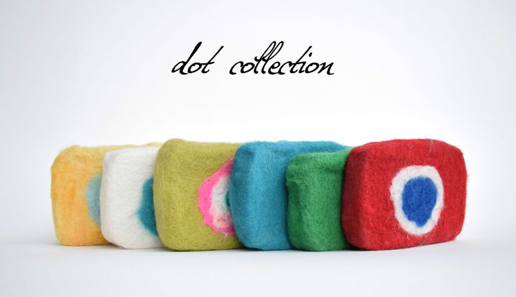 Handmade felted peeling soaps - DOT collection by dorasdisegno on Etsy