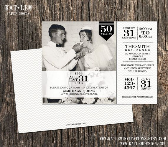 50th Anniversary Invitation - Photo and Block Text Design on Etsy, $15.00