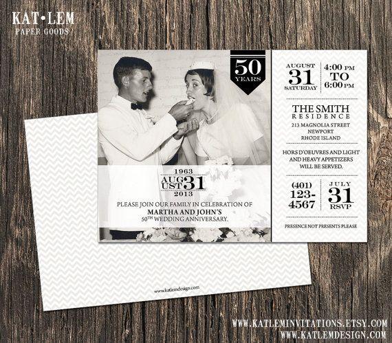 50th Anniversary Invitation  Photo and Block by katleminvitations