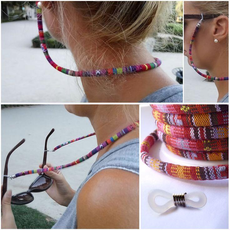 Cordones para las gafas de tipo étnico. Encontrarás los cordones y las fornituras que necesitas en: www.cuentaabalorios.com #gafas #cordón #cordongafas