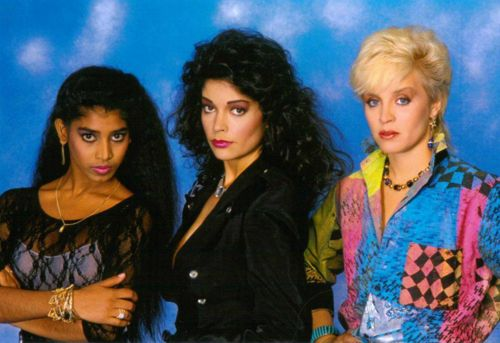 Susan Moonsie, Apollonia Kotero, Susan Moonsie, and Brenda Bennett as the group Appollonia 6, a 1980s female singing trio created by Prince.