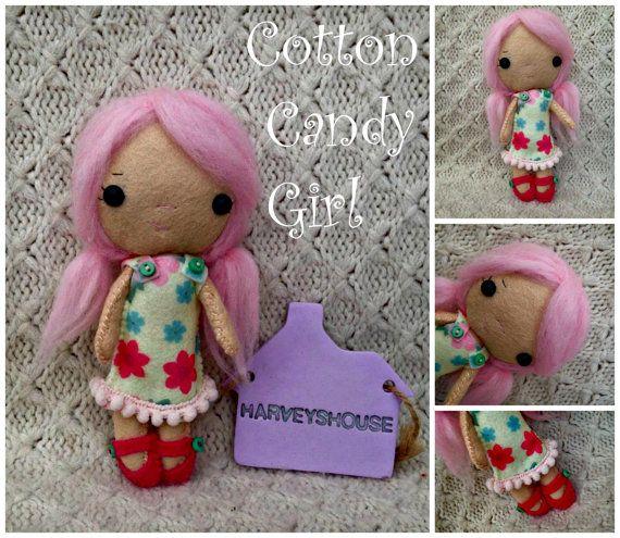 Cotton Candy Doll  Handmade Felt Collectable by HarveyshouseCrafts