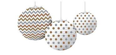 Metallic Polka Dot & Chevron Paper Lanterns 3ct