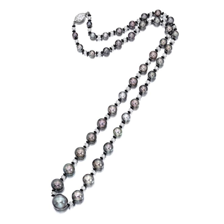 Very Rare Natural Pearl, Diamond and Black Onyx Necklace - Auction Estimate   $2,062,080 - $2,448,720 USD       Composed of forty-one graduated natural grey pearls measuring approximately 14.85 to 5.85mm, alternating with faceted diamond beads and black onyx rondelles, completed by a marquise-shaped diamond clasp, the diamonds weighing approximately 11.00 carats in total, mounted in platinum, length approximately 690mm.
