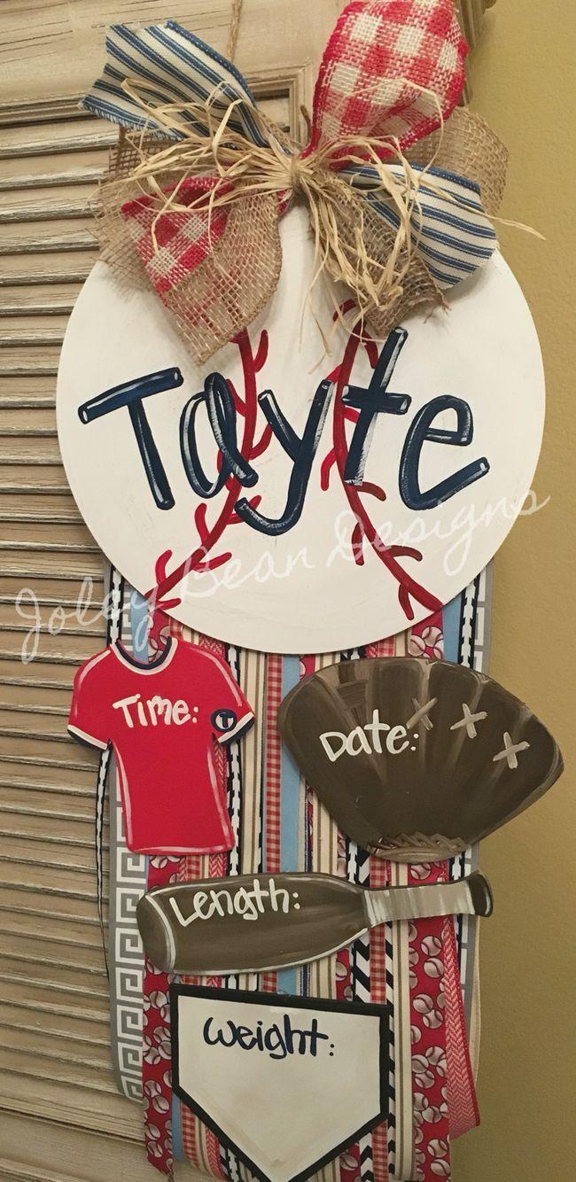 Joley Bean Designs, boy door hanger, hospital, nursery, baseball