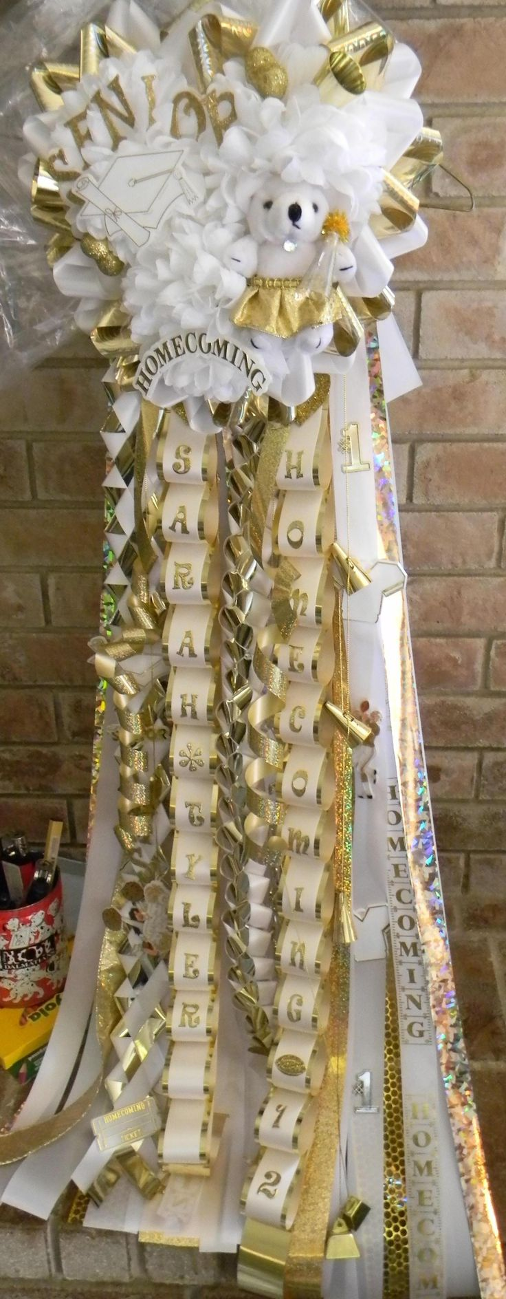 Senior Triple Homecoming Mum - I miss seeing these - not a thing they do up here in Montana -- homecoming mums large enough to topple a small cheerleader. Only in the south is this not even questioned. LOL!