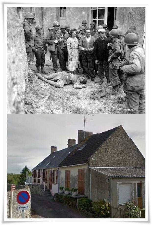 civili francesi parlano con  un cameraman esercito americano,  accanto a un cadavere di un soldato tedesco. La foto è stata scattata a Colleville-sur-Mer, poco dopo lo sbarco delle truppe americane in Normandia, 7 giugno 1944.   #NORMANDIA1944