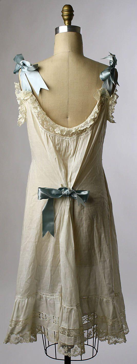 (2/2) Chemise Date: ca. 1900 Culture: American Medium: cotton.  I love shoulder bows!