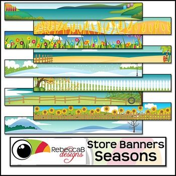 Store Banners Seasons contains 40 colored store banners with seasonal background themes and is a Personal/Classroom use only resource, though sharing of completed banners for free is allowed.  Create fun, sale or holiday banners to advertise an upcoming sale or promote a new resource.