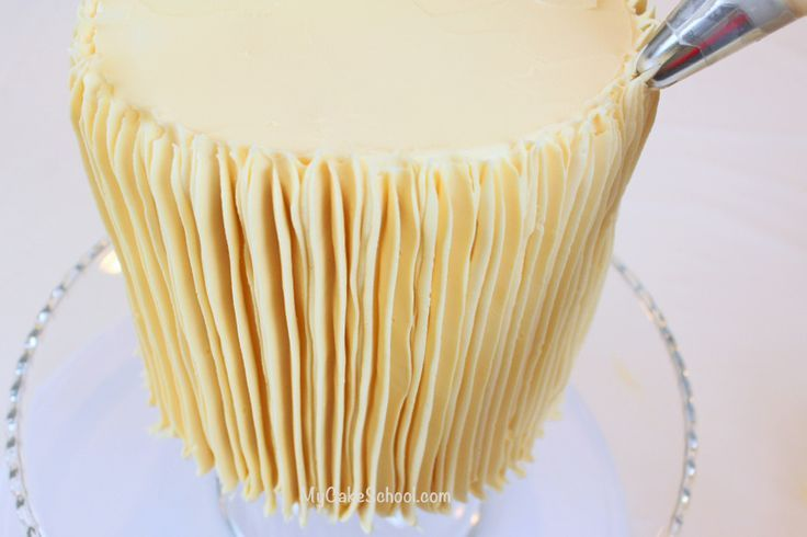 easy buttercream decorating with a large star tip...just start at the bottom and draw a vertical line up the cake...repeat all the way around the cake...done!.