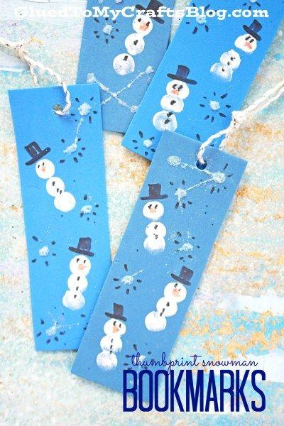 Thumbprint Snowman Bookmarks - Winter Themed Kid Craft Idea