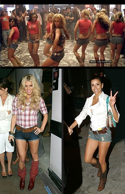 """Daisy Dukes and tall boots were very trendy in 2008. This trend was made popular by Jessica Simpson in her music video """"These Boots Are Made For Walking"""". This trend brought back western style clothing. Everyone wore cowboy boots and western hats. Western country style was in style before and now it was brought back. Daisy Dukes were considered to be the """"California girl"""" look that teen girls from all over found appealing."""