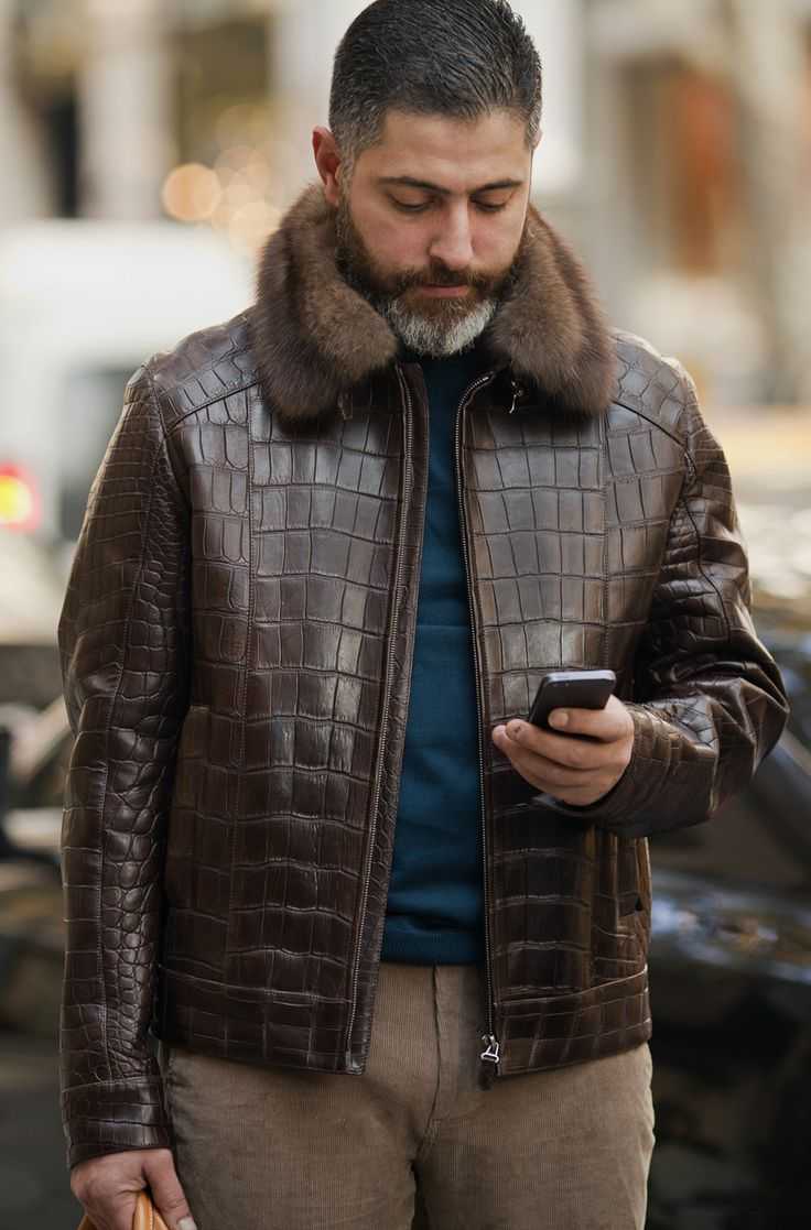 Men's croc leather jacket with sable collar by #ADAMOFUR #sable #croc #menstyle #inspiration #dapper #luxury #leatherajacket
