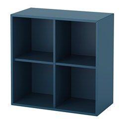 IKEA - EKET, Skab med 4 rum, hvid, , En enkel reol kan give tilstrækkelig opbevaringsplads i et lille rum eller være begyndelsen på en større opbevaringsløsning, hvis dine behov ændrer sig.Du kan vælge at placere skabet på gulvet eller montere det på væggen for at få mere gulvplads.Monteringen er nem og hurtig, fordi den kileformede dyvel bare skal klikkes på plads i de forborede huller.