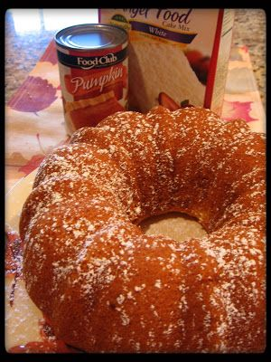 cookin' up north.. low fat pumpkin angel food cake...... one box angel food cake mix, 3/4 c. canned pumpkin, 1 c. water, 1 Tbsp. flour,1 1/2 tsp. pumpkin pie spice Bake at 350 for 37-47 min. in tube pan. Invert and cool.