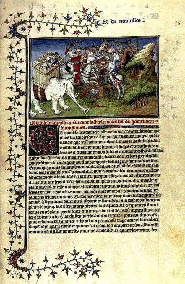 """Marco Polo (Venècia, 15 de setembre de 1254 - 9 de gener de 1324) Comerciant i viatger venecià. Pàgina il·luminada d'una còpia del """"Libro delle meraviglie"""" o """"Il milione"""""""