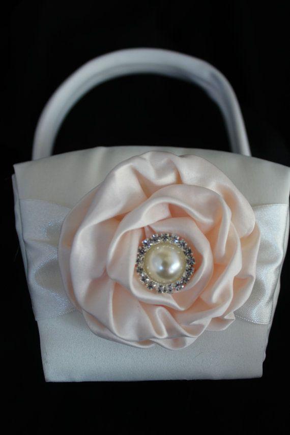 2 White or Cream Satin Flower Girl Baskets YOU door CustomRingChests