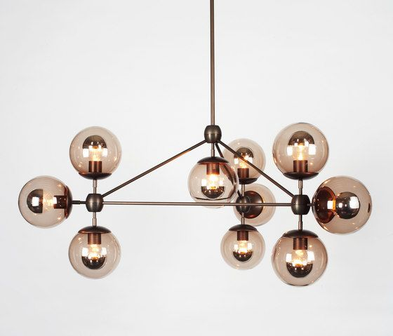 Modo chandelier 10 globes bronze smoke by Roll & Hill | General lighting
