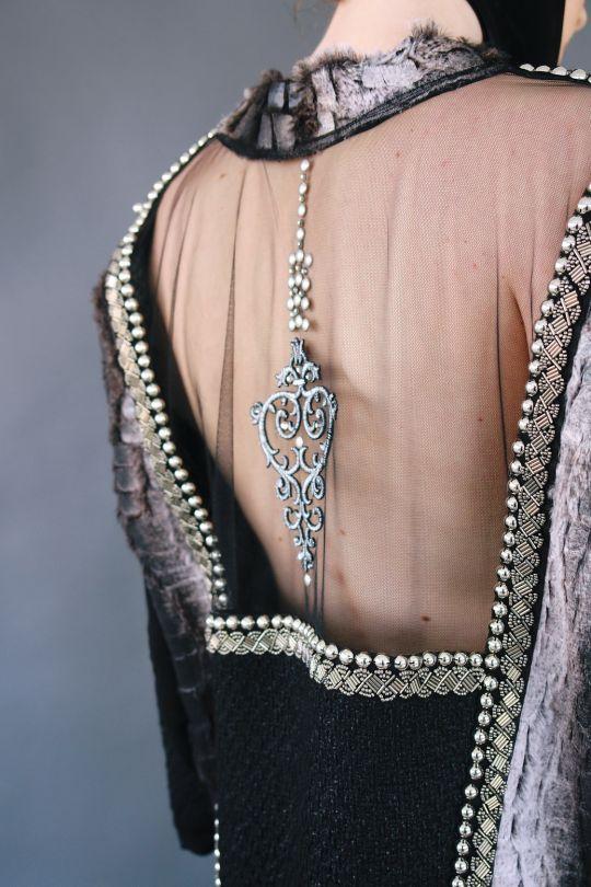 Faux fur blouse with transparent back www.maurizio.gr