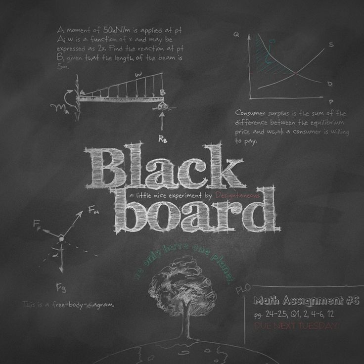 blackboard step-by-step instruction on creating realistic blackboard texture ( http://www.myinkblog.com/design-a-realistic-chalkboard-in-photoshop/ )