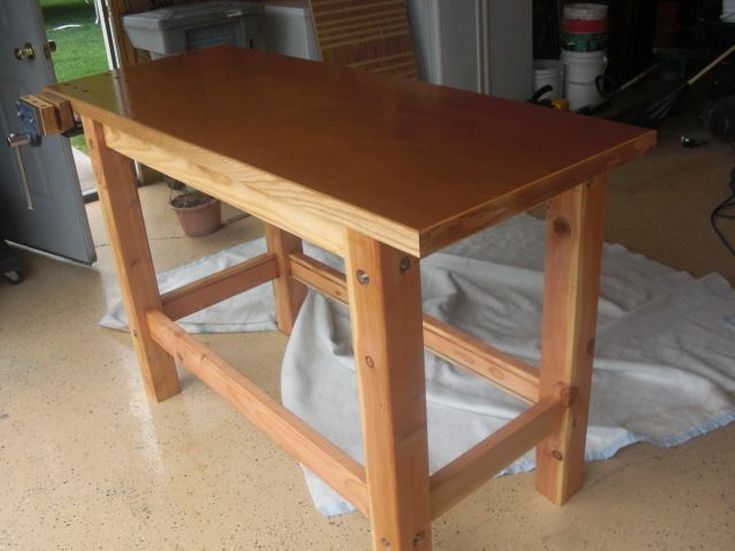 how to build a garage work bench using work horses