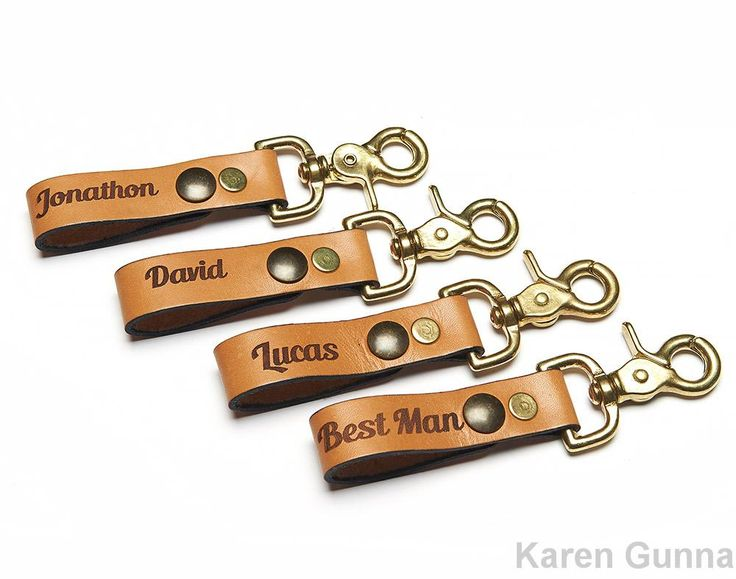 Say thank you to the guys in your wedding party with this personalized groomsmen gift You can choose what goes on the key fob- friend's name date of your wedding or some other meaningful word At check out you need to tell me specifically the names you wish to have embossed on the leather When choosing