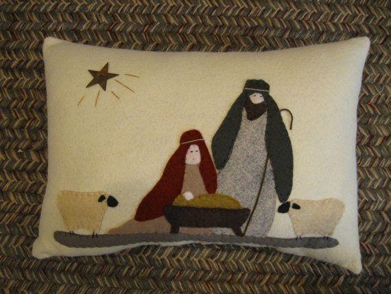 Nativity Pillow Mary, Joseph, Jesus, Sheep Folk Art Wool Applique Pillow Hand Made Christmas