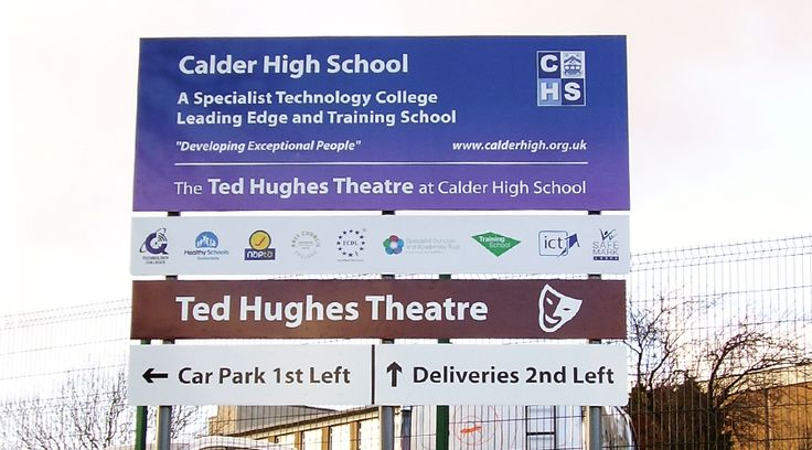 Exterior School Signage. This directional high school post sign was designed, manufactured and installed by Space3.co.uk