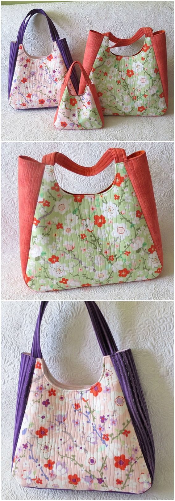 Bag pattern in three sizes:mini (great for little girls), medium (everyday bags) and large bags (lots of uses for this one!)