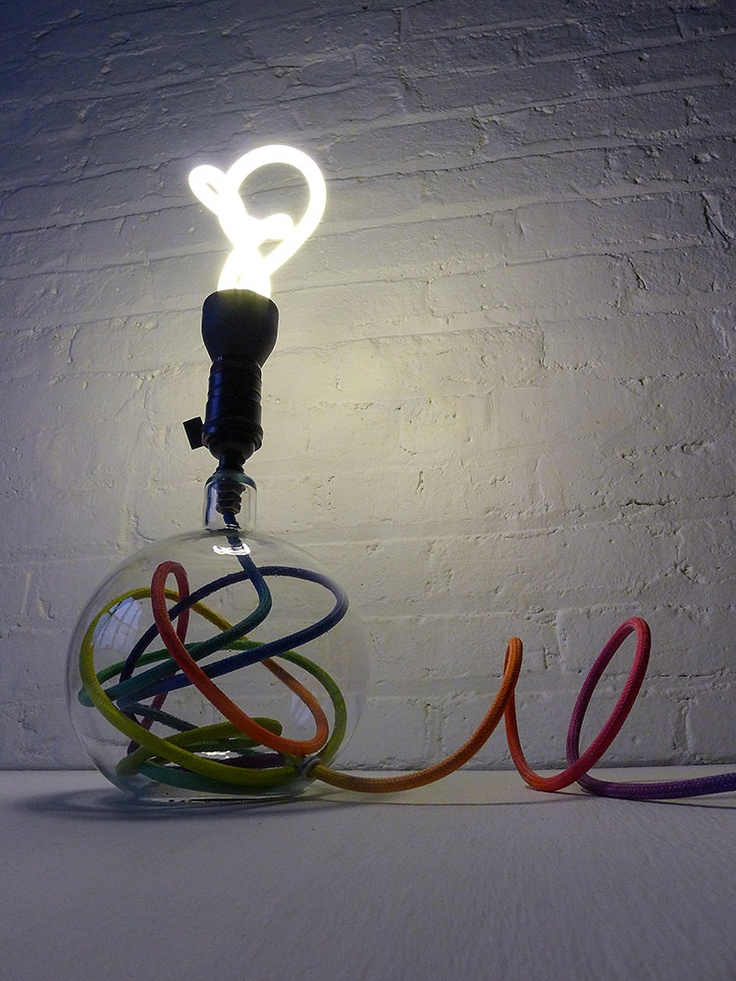 Modern Lighting - Glass Globe Bubble Table Lamp w Ombre Rainbow Color Cord and Plumen Light Bulb. $750.00, via Etsy.