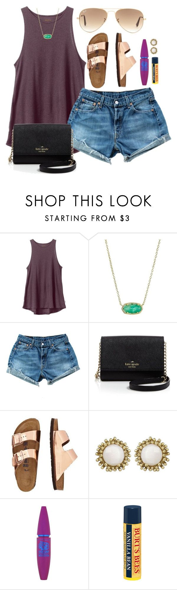 """""""spring break contest day seven✳"""" by madiweeksss ❤ liked on Polyvore featuring RVCA, Kendra Scott, Levi's, Kate Spade, TravelSmith, Maybelline, Burt's Bees, Ray-Ban and graciesspringbreak16"""