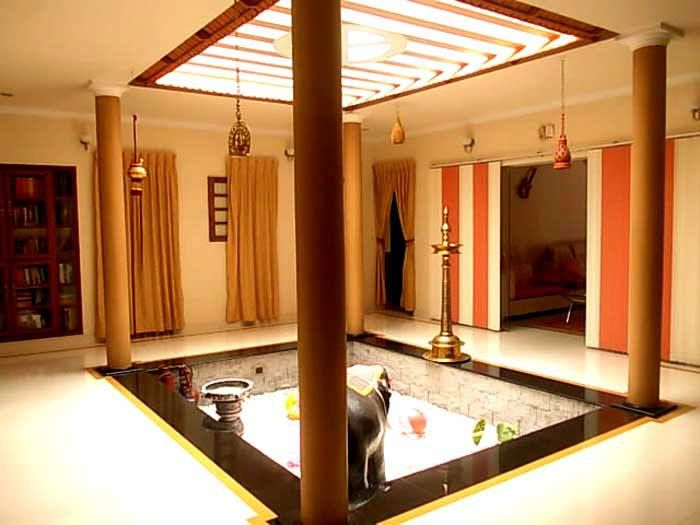 A Contemporary Central Courtyard The Airiness And Light With Colorful Drapes Gives Wonderful Indian HouseHouse ArchitectureIndian